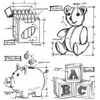 Tim Holtz Stampers Anonymous - Childhood Blueprint Stamp Set  +