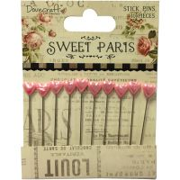 Dovecraft - Trimcraft Sweet Paris Stick Pins - Pink Hearts