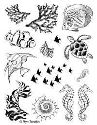 Designs by Ryn - Sea Creatures 1 Unmounted Stamp Sheet