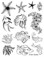 Designs by Ryn - Sea Creatures 2 Unmounted Stamp Sheet  ^