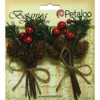 Petaloo Botanica Collection - Pine Pick With Pinecones & Berries