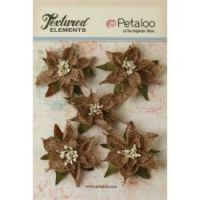 Petaloo Textured Elements - Natural Burlap Pointsettias