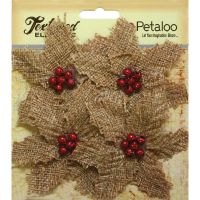 Petaloo -  Natural Burlap Poinsettia X 4