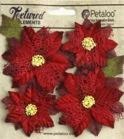 Petaloo - Textured Red Poinsettias X 4 Red