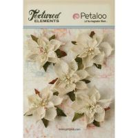 Petaloo Textured Elements - Ivory Burlap Poinsettias