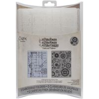 Tim Holtz Alterations - Blueprint & Gears Embossing Folders  -