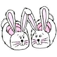 Great Impressions - Bunny Slippers Wooden Stamp