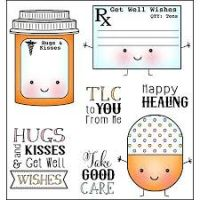 Darice Heart & Home - Get Well Wishes Stamp Set with Tin Pins  -