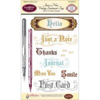 JustRite - Just a Note Vintage Sentiment Tags Stamp Set  ^