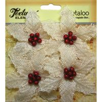 Petaloo Textured Elements - Burlap Poinsettia X 4