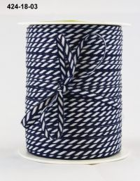 May Arts - 1/8 Inch Solid / Diagonal Stripes Ribbon (Colors: Navy)